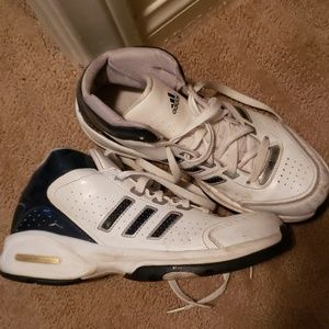 Adidas tennis shoes white and dark blue